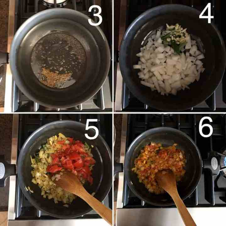 Step by step photos showing onions and tomatoes being sauteed in a nonstick panA