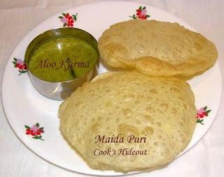 Maida Puri with Aloo Kurma