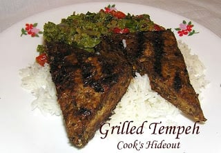 Grilled Tempeh with Broccoli Rabe and Red Peppers