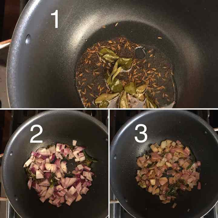 Step by Step Photos showing how to temper seeds and cook onions