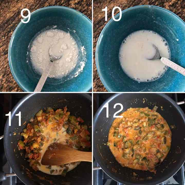 Step by step photos making rice-milk slurry and adding to potlakaya kura
