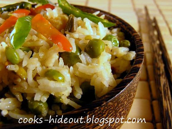 Spicy Thai Fried Rice with Sugar Snap Peas