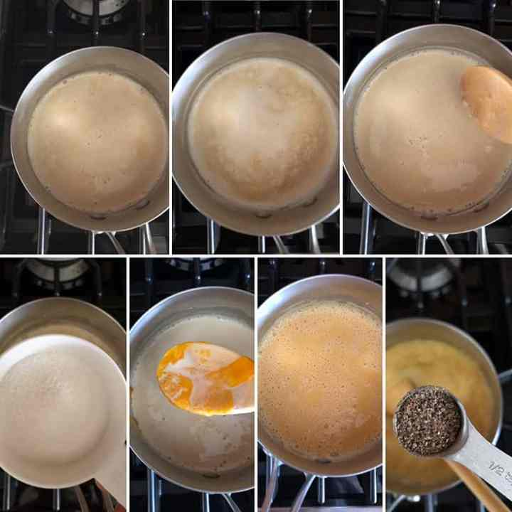Step by step photos showing milk mixture simmering and the addition of cornstarch, sugar, mango puree and ground cardamom