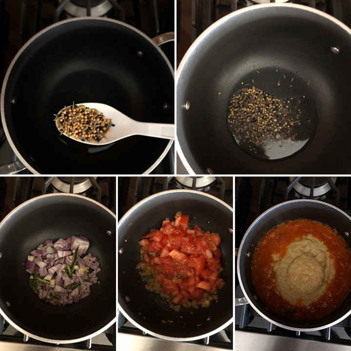 Step by step photos showing the making of Bengali dal