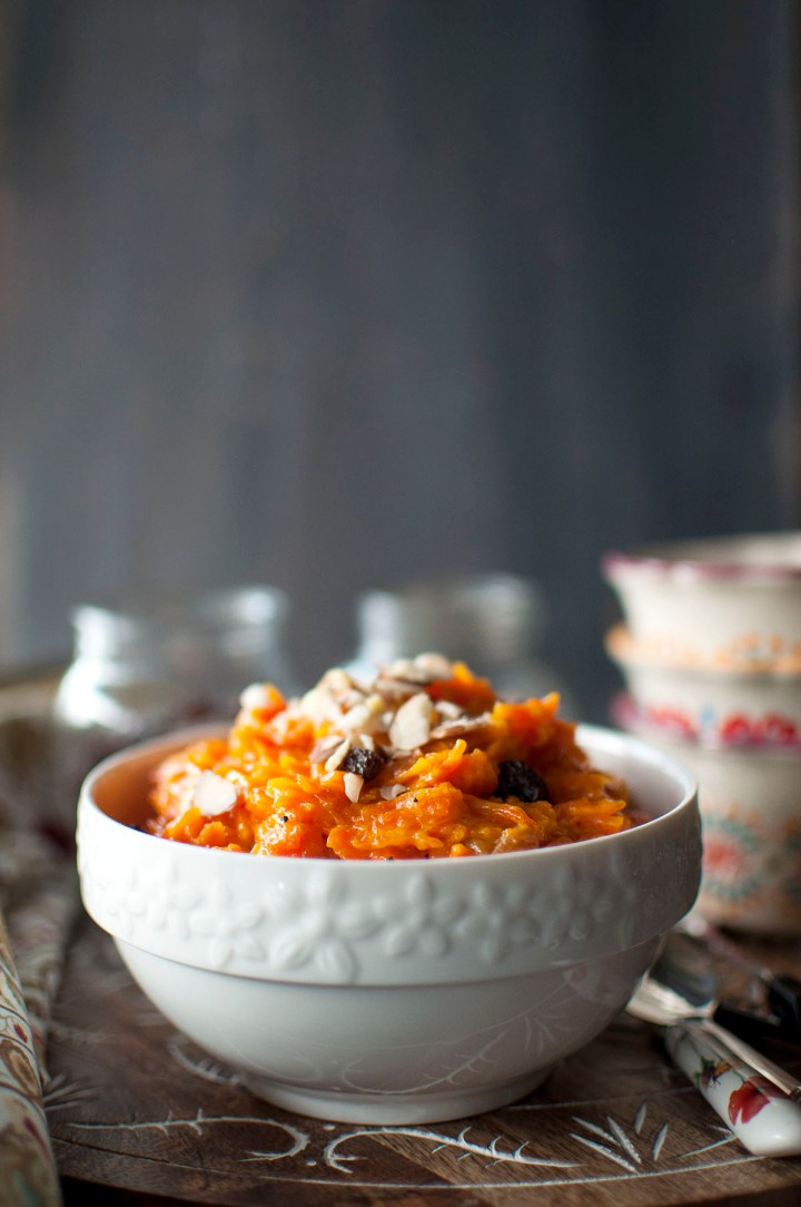 White bowl with carrot halwa