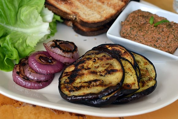 Grilled Eggplant Sandwich with Tomato Pesto (Chutney)