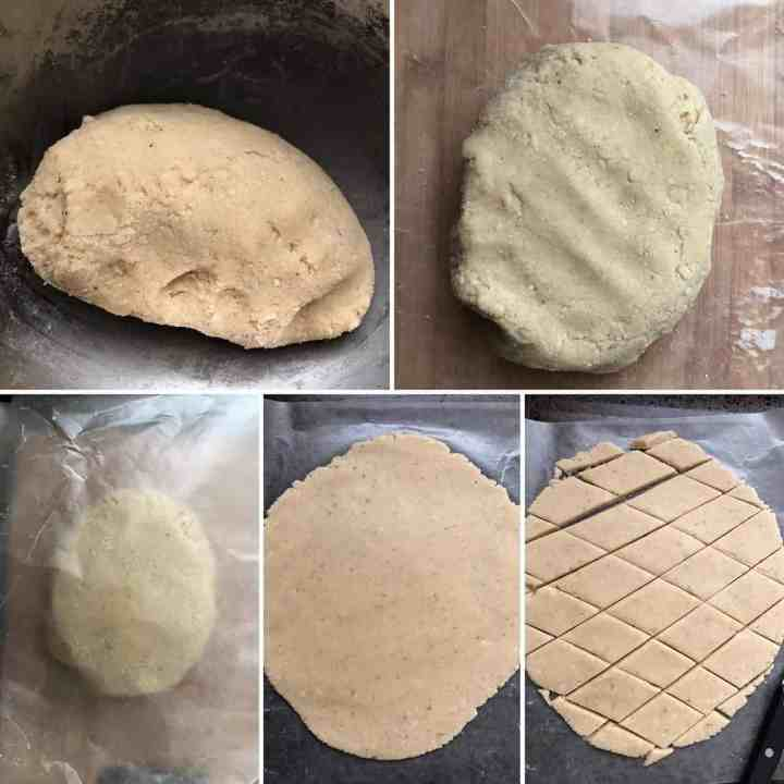 Step by step photos showing the cooked katli dough, rolled out into a disc and cut into diamonds