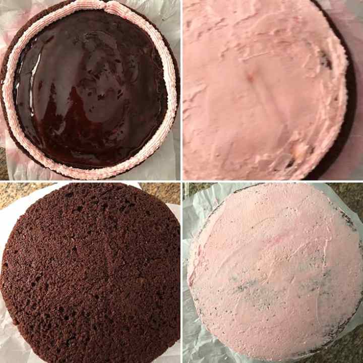 Step by step photos of the process of frosting the cake