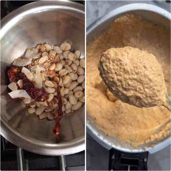 Step by step photos showing browned peanuts and sesame, poppy, coriander seeds and dry red chilies