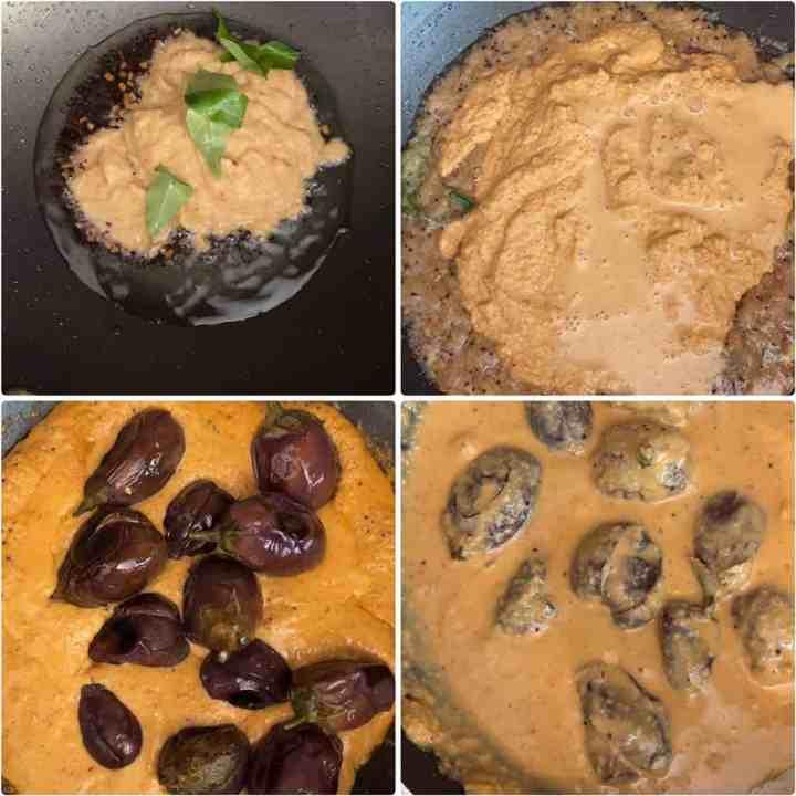 Step by step photos showing how to make Hyderabadi Bagara Baingan