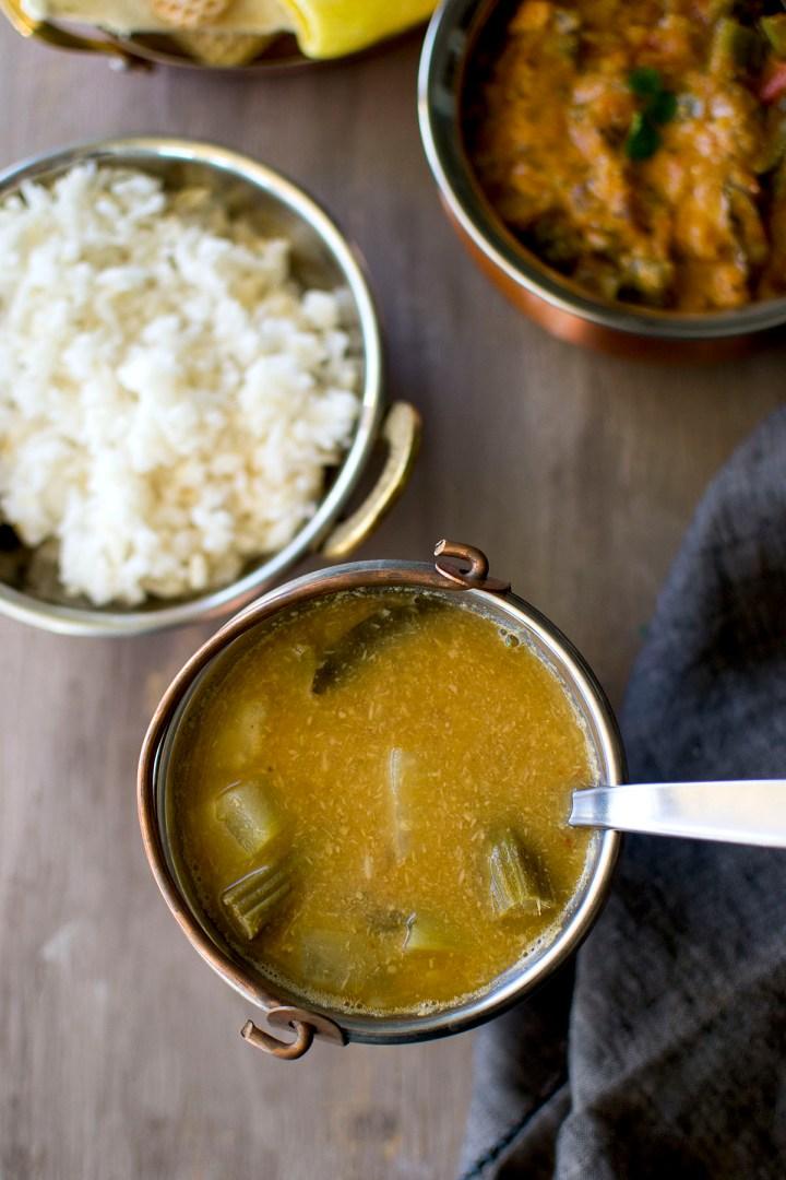 Copper bowl with Pindi Miriyam and white rice