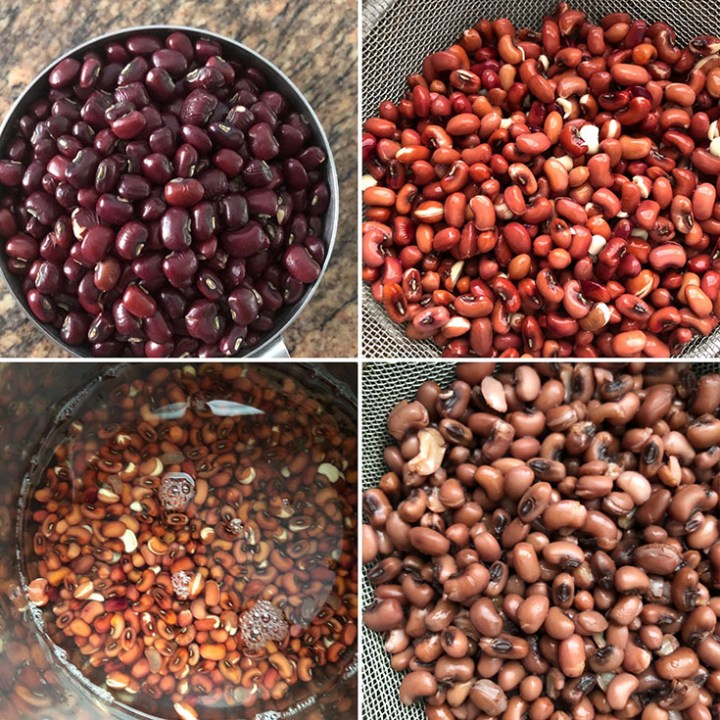 Step by step photos showing dried, soaked, drained and cooked red beans