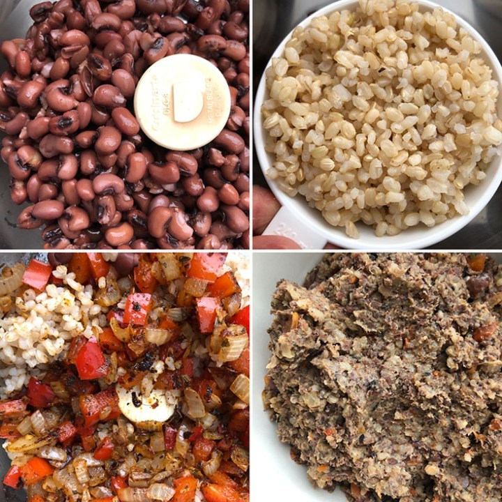 Step by step photos showing processing the beans, rice with cooked veggies and spices