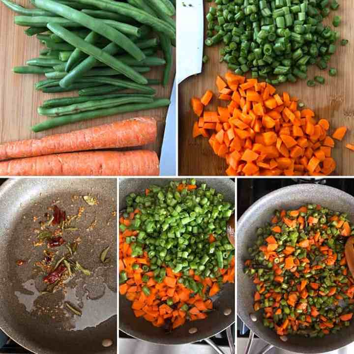 Side by side photos showing the making of carrot-green bean stir fry - chopped veggies added to a saute pan and cooked till crisp tender