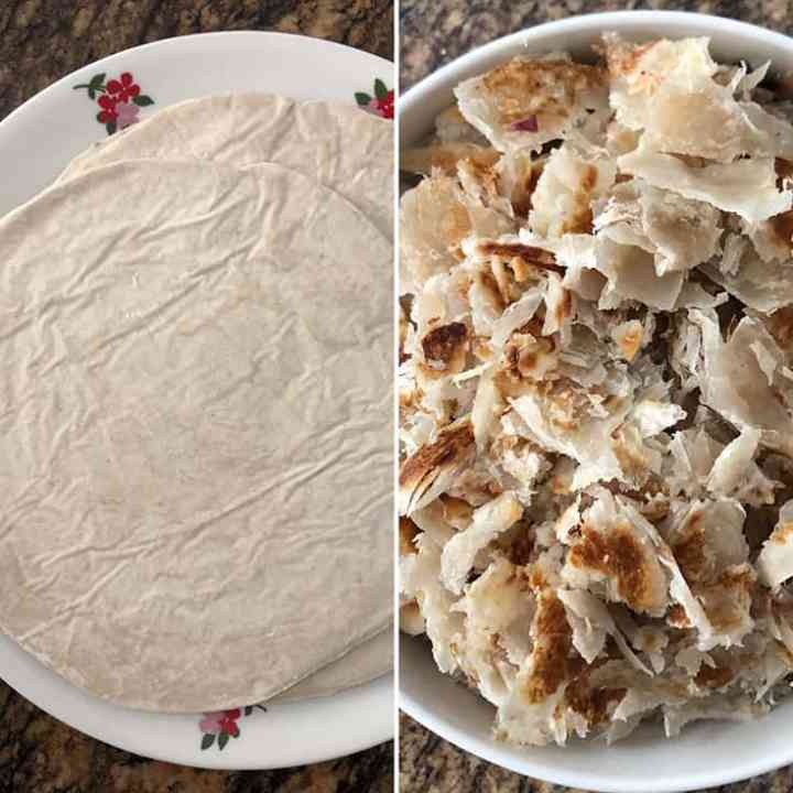 Side by side photos of frozen parotta and cooked & torn pieces