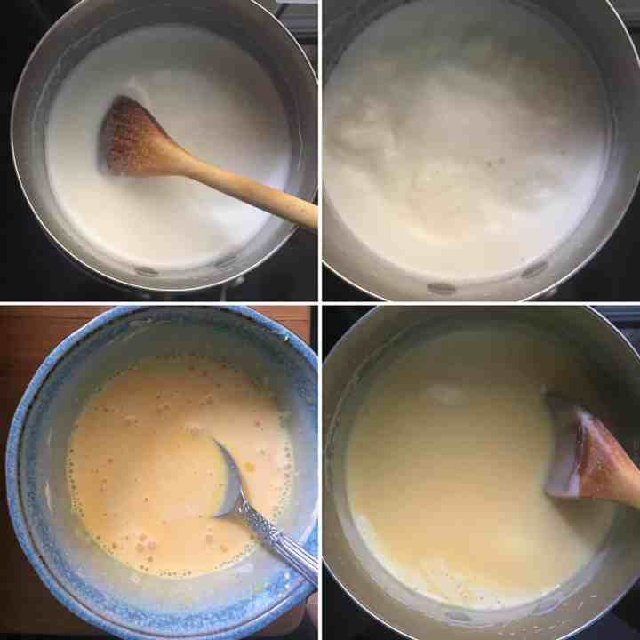 Step by step photos showing making custard powder slurry and boiling milk