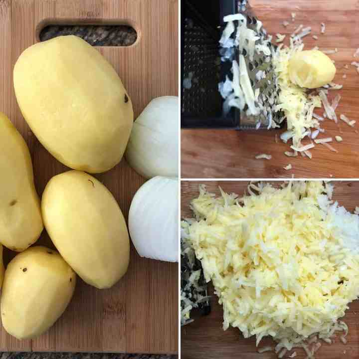 Chopping board with potatoes and onion before and after grating