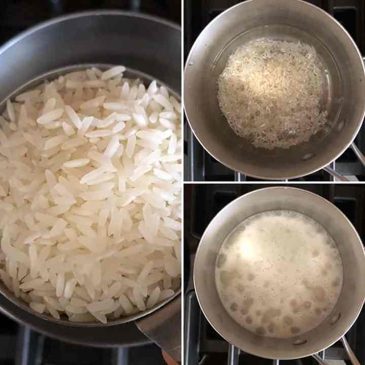 step by step photos showing jasmine rice being cooked in a saucepan