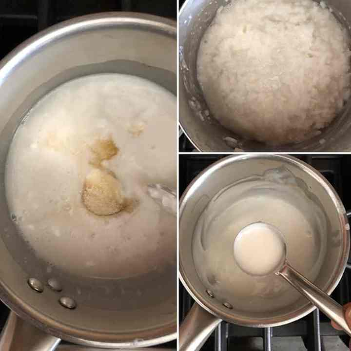 step by step photos showing the making of coconut sauce