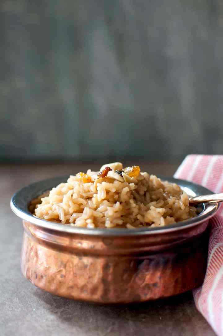 Copper bowl with sweet rice