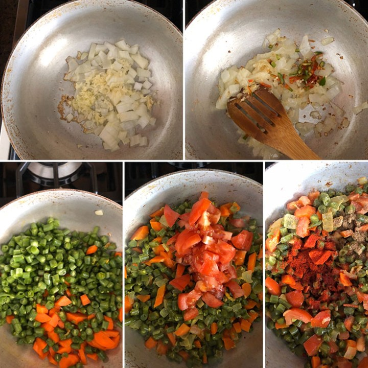 Step by step photos showing the cooking onions, chilis, green beans, tomatoes and spices