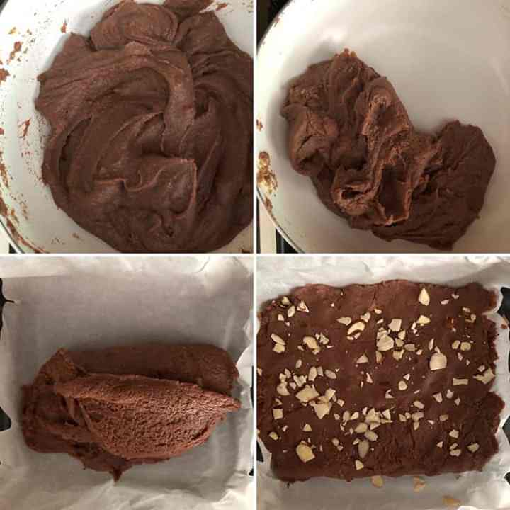 Step by step photos showing the cooking the chocolate fudge to the perfect texture