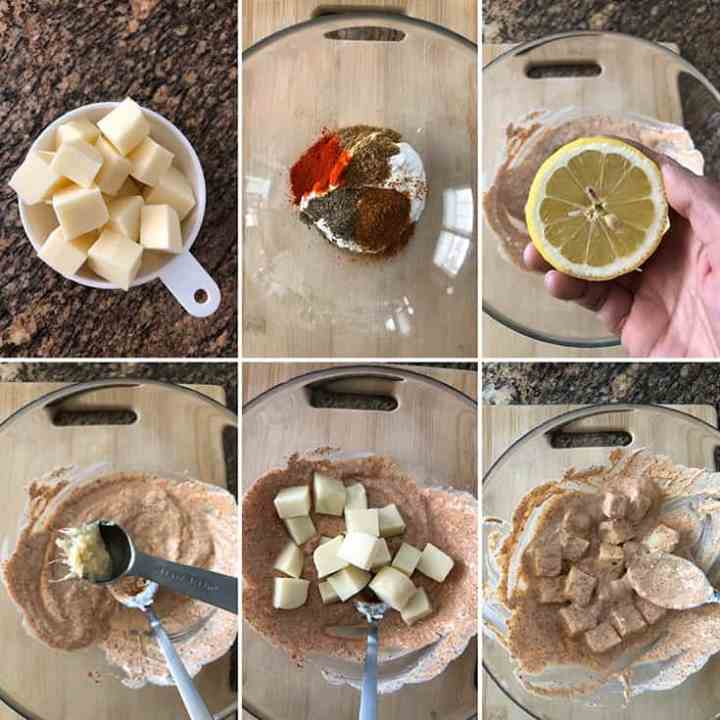 Side by side photos showing the making of yogurt marinade with spices for paneer