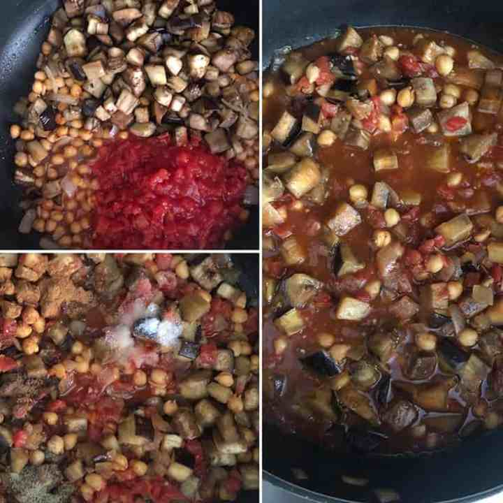 Step by step photos showing the addition of browned eggplant, diced tomatoes and spices being added to the eggplant stew