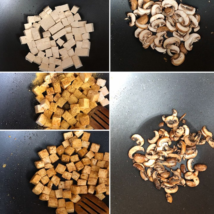 Step by step photos showing the making of crispy tofu and fried mushroom