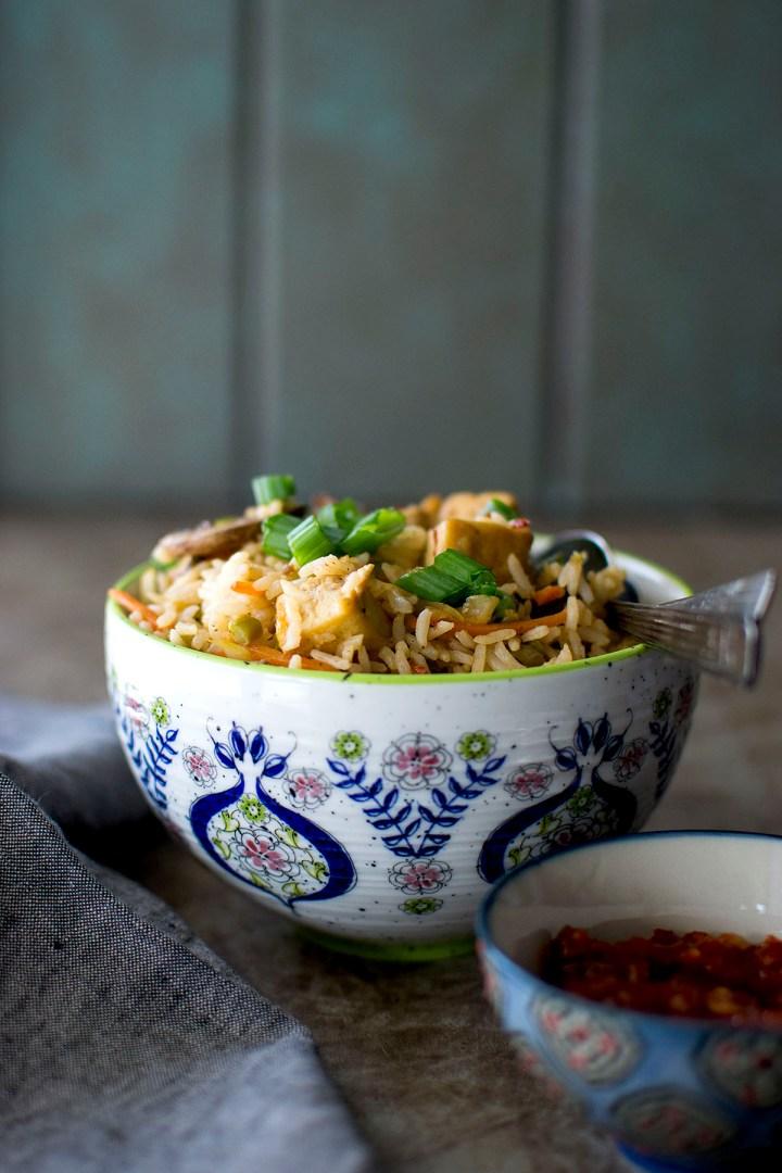 White bowl with Schezwan fried rice