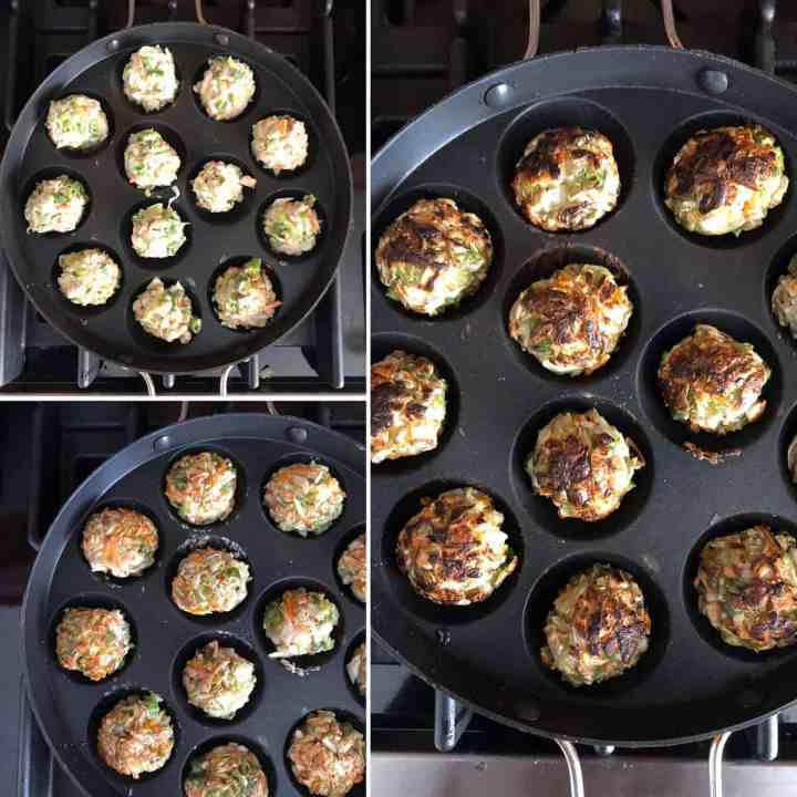 Step by Step photos showing how to veggie balls in aebleskiver pan