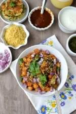 Chole-Aloo Tikki Chaat (Chickpea & Potato Pattie Chaat)