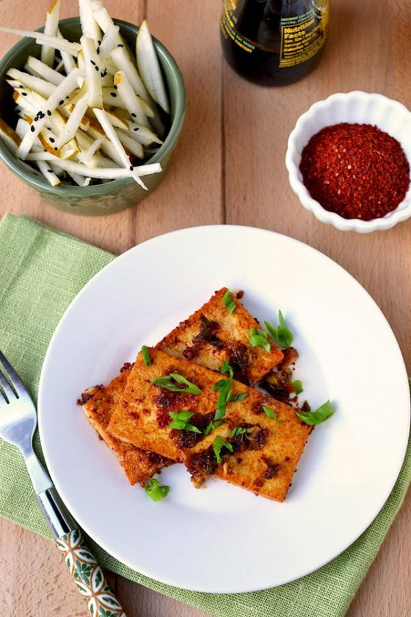Spicy Korean Tofu with Pear Slaw