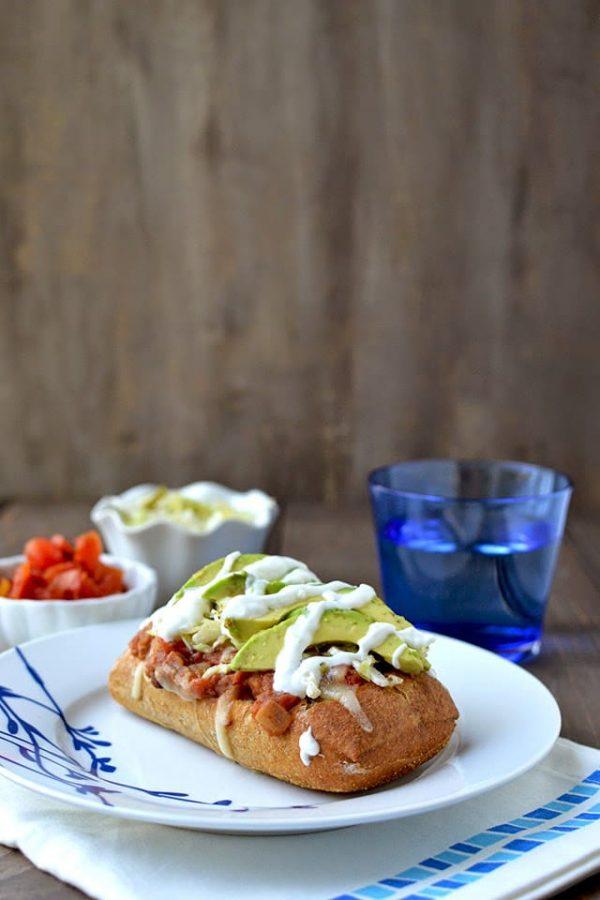 Vegetarian Molletes - Mexican Open Face Sandwich