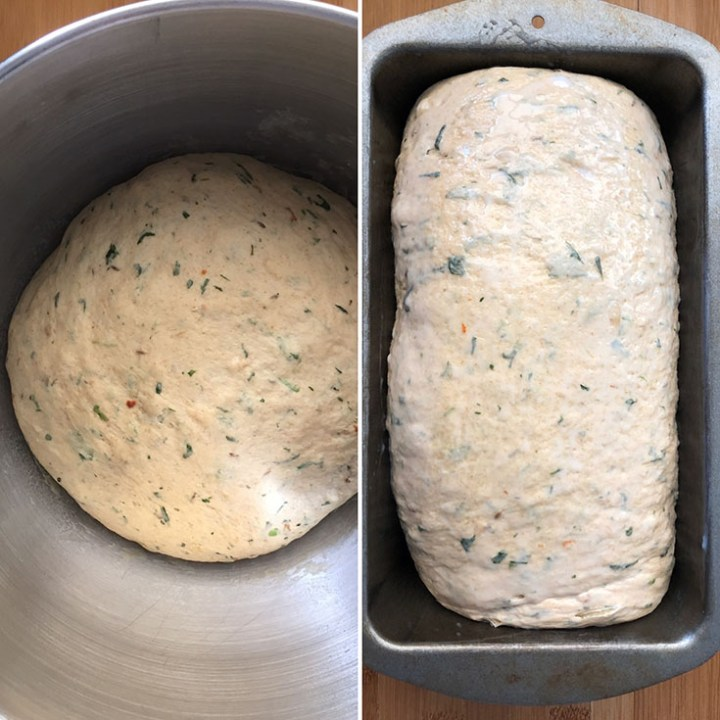 Side by side photos of rise dough after first and second rise
