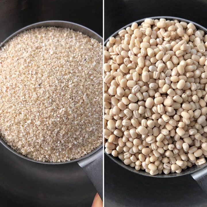 Steel cup with coarse sorghum meal and urad dal