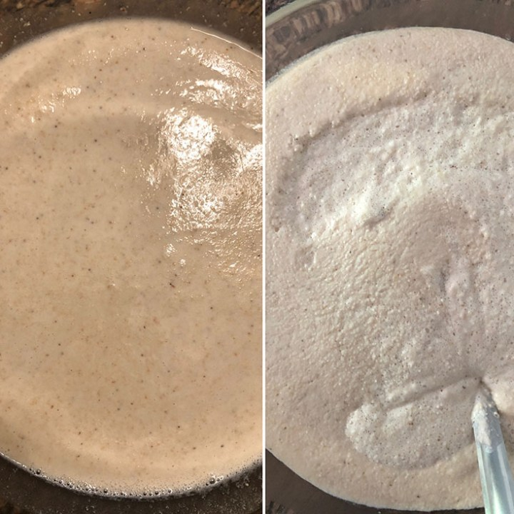 Photo showing just ground idli batter and fermented batter side by side