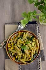 Pasta with Poblano Chilies, Corn and Cilantro Cream