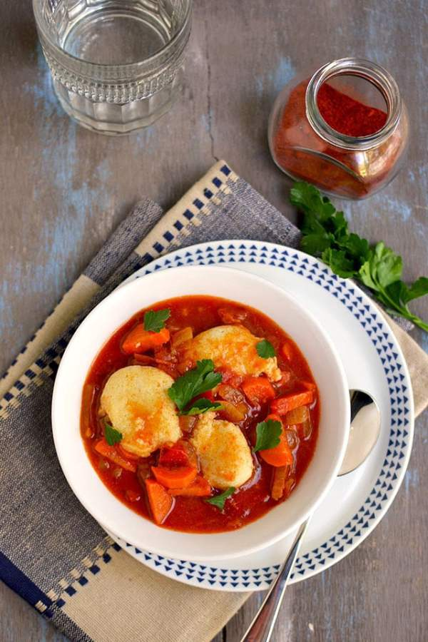 Vegetarian Paprikash with Dumplings