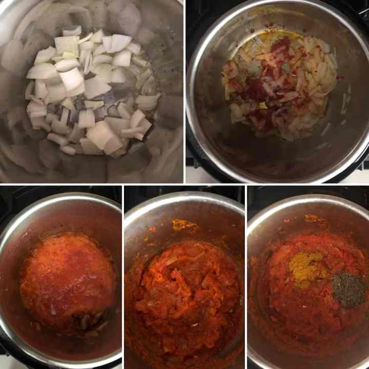 Step by step photos showing the sauteing of onions and tomatoes