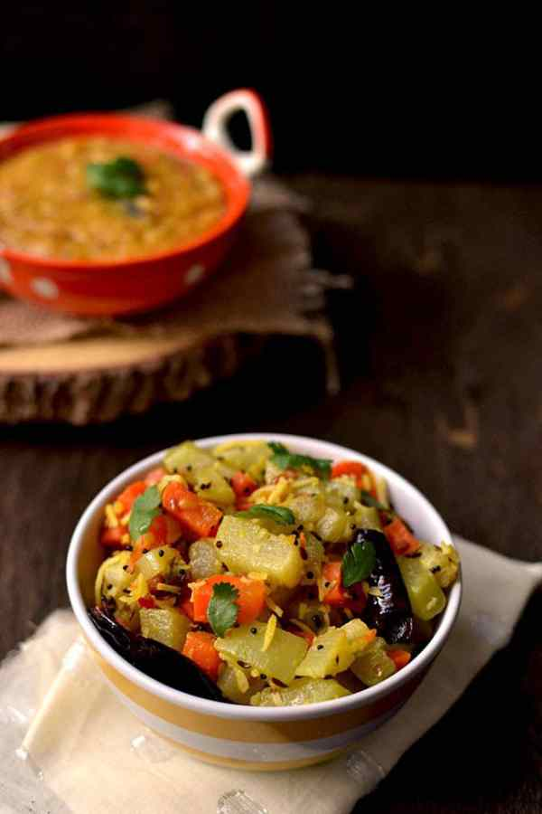 Chayote and Carrot Dry Curry