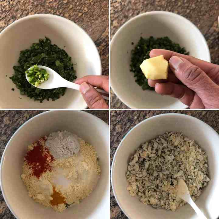 Step by step showing the making of dumpling batter
