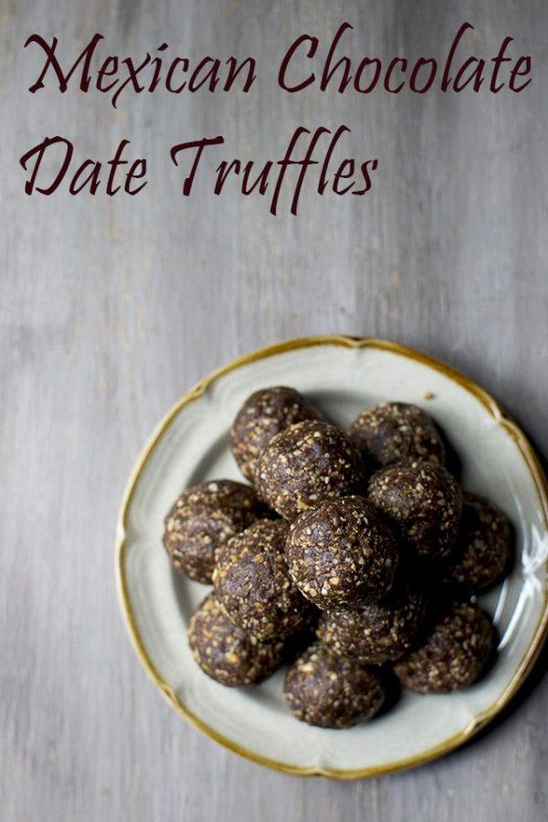 Mexican Chocolate Date Truffles (Vegan Energy Balls)