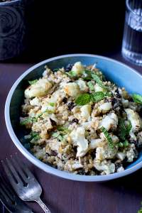 Vegan Freekeh Salad with Roasted Cauliflower