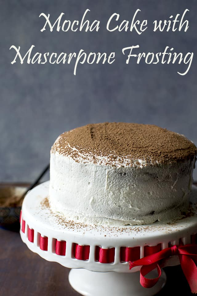 Pin for mocha cake with simple mascarpone frosing