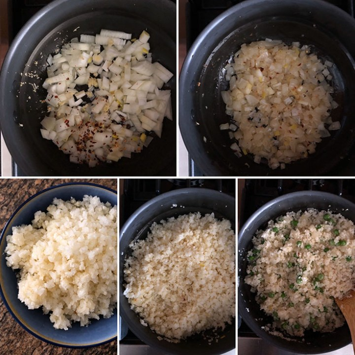Photos showing sauteing onion, garlic and rice