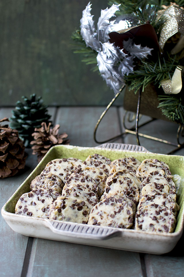 Shortbread Cookies with Chocolate chips and toffee bits