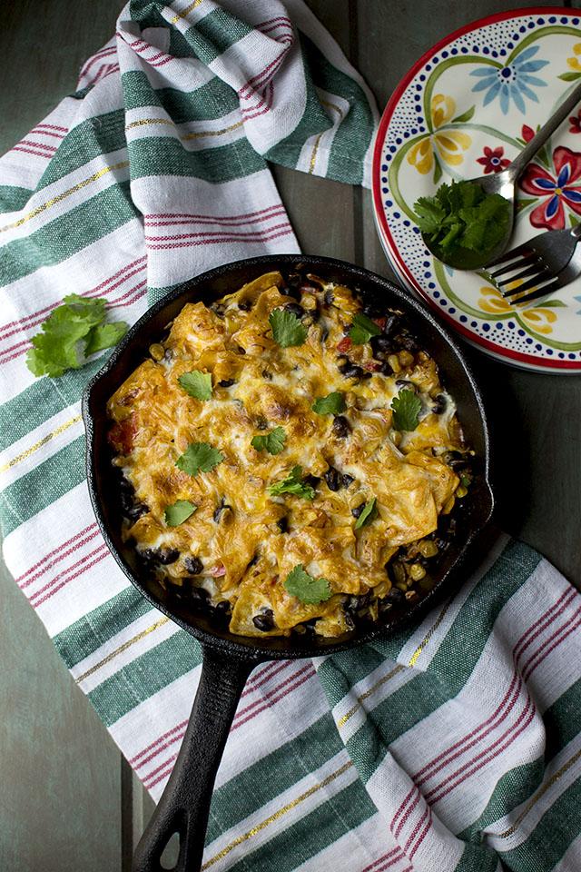 Skillet Enchiladas with Veggies & Beans