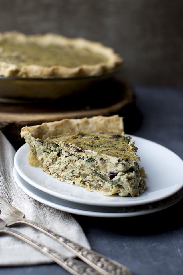 Vegan Quiche with Caramelized Onions