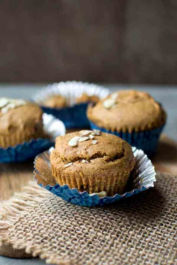 Almond Butter Chocolate Chip Muffins (Eggless Recipe) for #BreadBakers